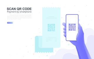 Zahlung per Smartphone scannen QR-Code mit textfreiraum. vektor