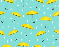 Nahtloses Muster des gelben Regenschirmes mit den Tropfen, die auf blauem Hintergrund regnen - Vector Illustration