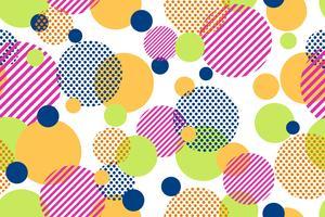 Seamless mönster av färgglada prickar och geometrisk cirkel modern på vit bakgrund - Vektor illustration