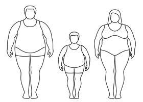 Konturer av fet man, kvinna och barn. Obese familj vektor illustration. Ohälsosam livsstilskoncept.