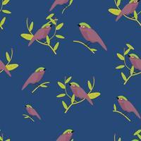 süßer Vogel auf Zweig Muster Vektor