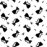 Nahtloses Vektorhalloween-Muster mit schwarzen Katzen, Spinnen und den Knochen.