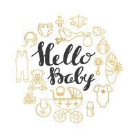Babypartygruß und Einladungskarte