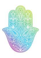 Handritad Hamsa symbol. Fatima hand. Etnisk amulett som är vanlig i indiska, arabiska och judiska kulturer. Färgrik Hamsa symbol med östlig blommig prydnad.