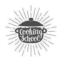 Pot Silhoutte mit Schriftzug - Kochschule - und Vintage Sonnenstrahlen. Gut zum Kochen von Logos, Bades oder Postern. vektor