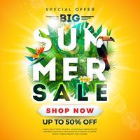 Sommerschlussverkauf-Design mit Tukanvogel, Papageienblume und exotischen Palmblättern auf sonnengelbem Hintergrund. Tropische Vektor-Sonderangebot-Illustration