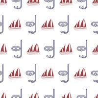 Nautiskt sömlöst mönster med skepp och mask.