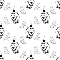 Nahtloses Muster der Bäckerei mit kleinem Kuchen und Segment der Zitrone