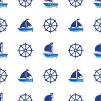 Seamless mönster med bilden av yachter, ankar, ratt. Kan användas för papper, bakgrund, textur, tapeter. Vektor i