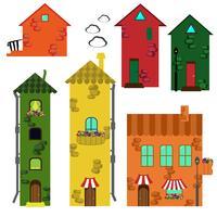 Set av tecknade hus.