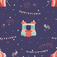Nöjespark sömlöst mönster med uppblåsbara slott och cirkus.