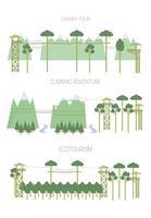Sats av ekoturismillustrationer. Line art stil.