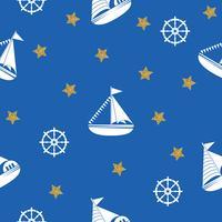 Nahtloses Muster mit dem Bild von Yachten, Anker, Lenkrad. Kann für Papier, Hintergrund, Textur, Tapete verwendet werden. Vektor i