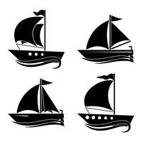En uppsättning ikoner av yachter. Inredning för dina idéer.
