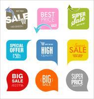 Moderne Verkaufsabzeichen und Aufklebersammlung
