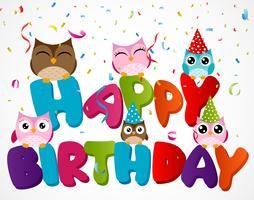 Alles Gute zum Geburtstagskarte mit Eule vektor
