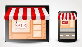 Online-Shop-Shopping-Konzept auf Smartphone vektor