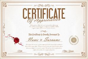 Designschablonen-Vektorillustration des Zertifikats oder des Diploms Retro-