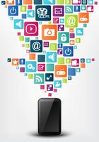 Smartphone apps icon koncept bakgrund vektor