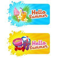 hej sommar banner med stranden roligt tema vektor