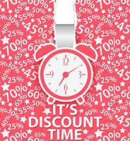 Einkaufszeit-Plakatdesign mit Wecker