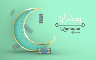 Vorlage für Ramadan Kareem mit grüner und goldener Farbe. Illustrationsdesign des Vektors 3D im Papierschnitt und Handwerk für islamische Grußkarte, Einladung, Bucheinband, Broschüre, Netzfahne, Anzeige. vektor