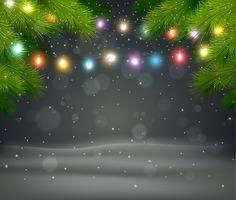 Jul bakgrund med träd och ljus
