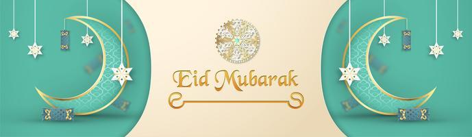 Mall för Eid Mubarak med grön och guldfärgton. 3D Vektor illustration i pappersskärning och hantverk för islamiskt hälsningskort, inbjudan, bokomslag, broschyr, webb banner, annons.