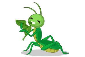 gräshoppa äta bladtecknad film vektor