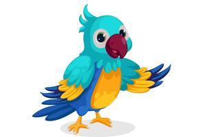 niedlicher blauer Macaw-Cartoon, der in der Haltung steht