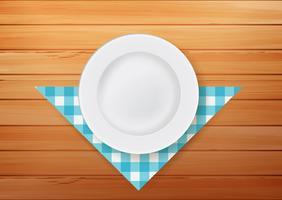 Platte mit Serviette auf hölzernem Hintergrund vektor