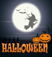 Halloween Häxa som flyger över månen vektor
