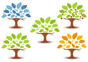 Sättning av träd i olika årstider vektor