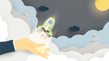 Vektor illustration med startkoncept i pappersskärning, hantverk och origami stil. Raket flyger. Mall design för webb banner, affisch, omslag, reklam. Det är konsthantverk för barn.
