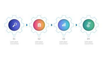 Zahnräder Räder horizontale Infografiken 4 Schritte