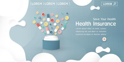 Vektorillustration im Konzept der Krankenversicherung. Schablonendesign ist auf blauem Pastellhintergrund für Abdeckung, Netzfahne, Plakat, Diapräsentation. Art Craft für Kinder im 3D-Papierschnittstil.