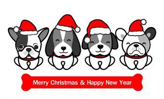 God jul söta hundar tecknad film. Vektor illustration.