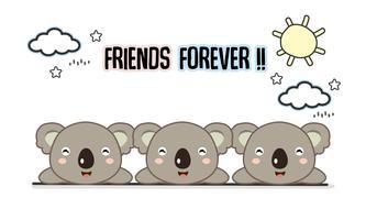 Freunde für immer Koala-Vektorillustration