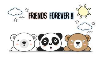 Vänner för alltid hälsningskort med små djur. Söt björnar tecknad vektor illustration.