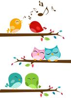 Fåglar som sjunger på grenen vektor