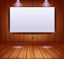 Realistischer Galerieinnenraum auf hölzernem Wandhintergrund vektor