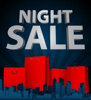 Nachtverkauf mit Einkaufstasche in der Stadt vektor