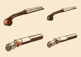 Hand gezeichneter Abgleichungs-Vektor und Zigaretten-Vektor-Satz