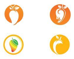 Mango im flachen Artmangologomangoikonen-Vektorbild