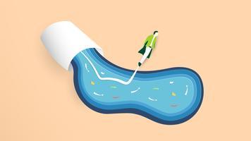 Vector Illustration mit beginnen oben Konzept in der Papierschnitt-, Handwerks- und Origamiart. Rakete fliegt. Template-Design für Web-Banner, Poster, Cover, Werbung. Es ist Kunsthandwerk für Kinder.