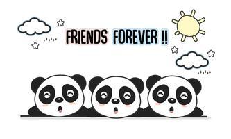 Vänner för alltid hälsningskort med små djur. Gullig pandas tecknad vektor illustration.