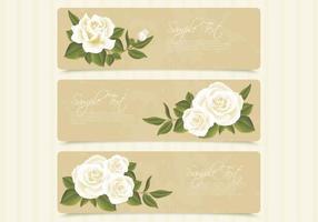Retro weiße Rosen-Fahnen-Vektorsatz