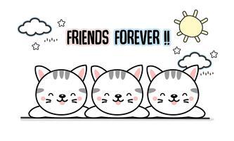 Bästa vän för alltid katter tecknad. vektor