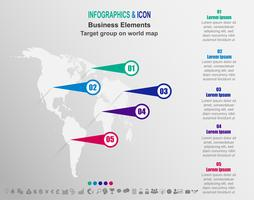 Infografisk verksamhet Målgrupp på världskarta. världskarta och marknadsföringsikoner kan användas för arbetsflödeslayout, diagram, rapport, .Vector.