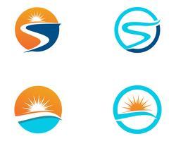 Fluss Logo Vorlage Vektor Icon Illustration App,